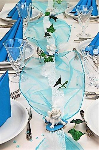 """Fibula [Style] ® Komplettset """"Engelchen Igor"""" türkis Tischdekoration für Taufe/Geburt/1. Geburtstag Junge für ca. 8 - 10 Personen"""