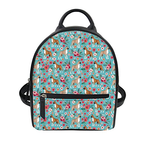HUGS IDEA Boxer Floral Print PU Leather Small Backpack Travel Lightweight Daypack Casul Ipad Bag for Teen Girl -