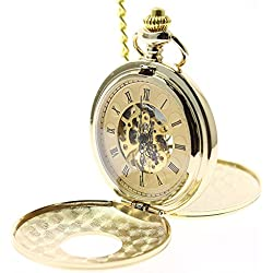 itemstoday Double Hunter Gold Men's Mechanical Hand Wind Pocket Watch Engraved Roman Numerals