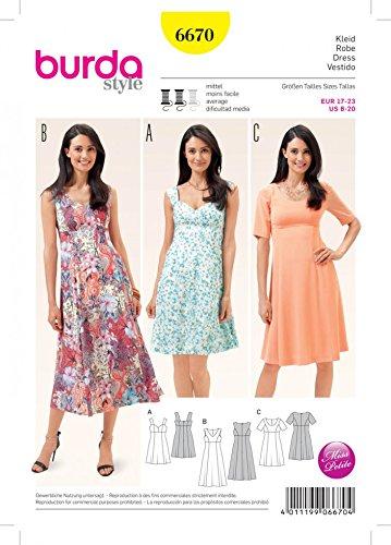 d61d4474bea5 Burda Damen Schnittmuster 6670 Sommer Kleider + Gratis Minerva Crafts Craft  Guide