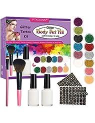 Kit Tatouage Paillettes,Tatouages Paillettes Set,Tatouages Temporaires de Maquillage Peintures pour Body Art -12 x Poudre Scintillante 49 Pochoir Creux 2 Colle Scintillante 2 Pinceaux