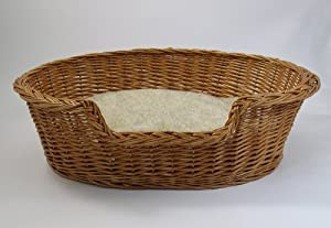 Luxury Wicker Dog Basket - Large (85cm) - With Sherpa Fleece Cushion from Gadsbys