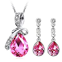 Neevas Crystal Elegant Emerald Drop Pendant Bow Knot Jewellery Set: Earrings & Necklace (Pink)