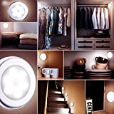 from OMORC Motion Sensor Light, OMorc 6 LED 3 Pack Cordless Battery-Powered LED Night Light with 3M Adhesive Pads Compact Closet Light, Stairs Light, Stick-Anywhere Safe Wall Light for Kitchen, Bathroom, Hallway, Bedroom, Garage, Basement - White Model GEHM183AW