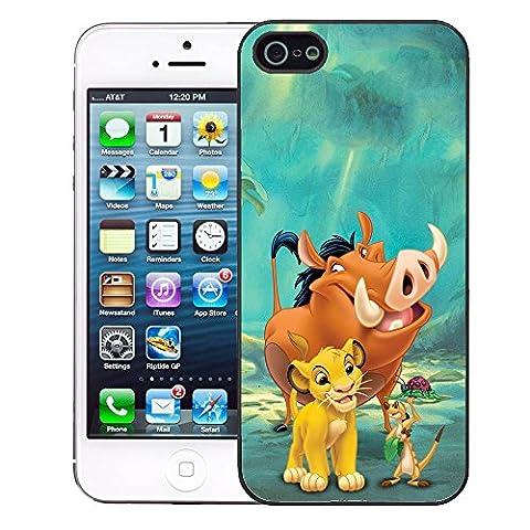 The Little Mermaid & König der Löwen Schutzhülle für Apple iPhone 5–5S–Schwarz–T1137Abenteuer–Pumbaa Simba Timon
