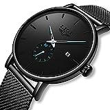 Hombres Moda Reloj Sencillo Casual Cuarzo Analógico Fecha con Negro Milanés Acero Inoxidable Malla Banda Minimalistas Relojes de Pulsera