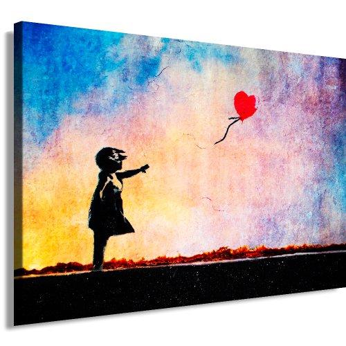Pop-art-foto (Banksy Kunst auf Leinwand Bild 100x70cm k. Poster ! Bild fertig auf Keilrahmen ! Pop Art Gemälde Kunstdrucke, Wandbilder, Bilder zur Dekoration - Deko / Top 100