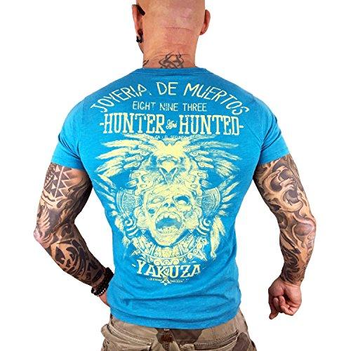 Yakuza Original Herren Hunter And Hunted T-Shirt Algiers Blue Moonwashed