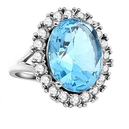 Frauen Klassische Halo Ring Blue Cubic Zirkonia Band Mode Ringe für Mädchen Valentinstag Geschenk (Blue Halo Ringe)