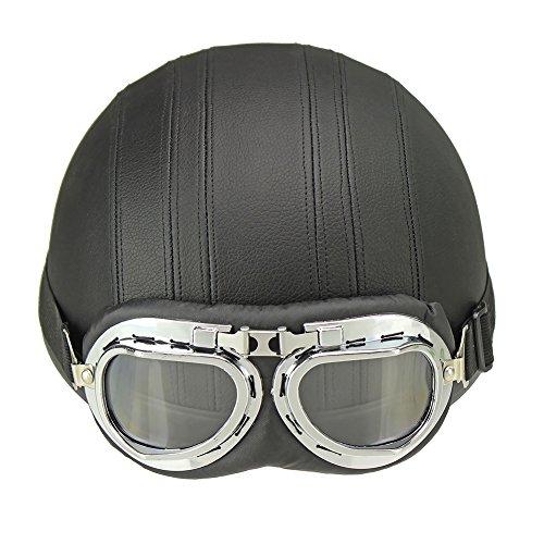 Zyurong® Motorrad-Helm Unisex Herren Damen Fahrrad-Helm Motorrad offener Helm Halbhelm + Visier + Schutzbrille, schützt das Halbe Gesicht, schwarz
