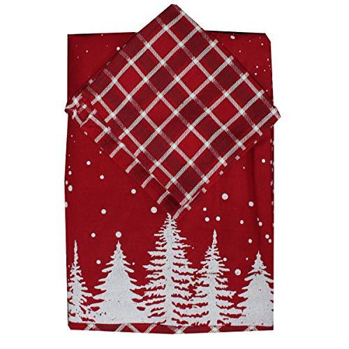Russo tessuti set tovaglia tovaglioli preziosa 12 posti nevicata natalizia rossa tortora-rosso