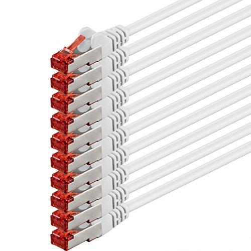 1aTTack cavo di rete Patch Cat6PiMF SSTP, con 2connettori RJ45doppia schermatura, confezione da 5 - weiß - 10 Stück 1,0 m