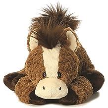 Tushies Animale di peluche Cavallo marrone Animale da coccole Pony sdraiato Cavallo di peluche di 28 cm circa, insieme al burro per il corpo 7 ml