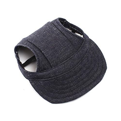 (UEETEK Haustier Hund Baseball Sport Cap-Oxford-Gewebe mit Ohr-Löcher für kleine Hunde - Größe S (schwärzlich))
