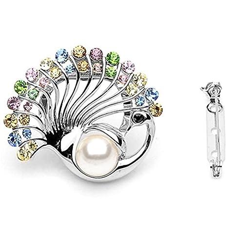 S&E Plaqué or écharpe Bling Ring cristal design Echarpes clip Conch la forme de femmes Perle Echarpes
