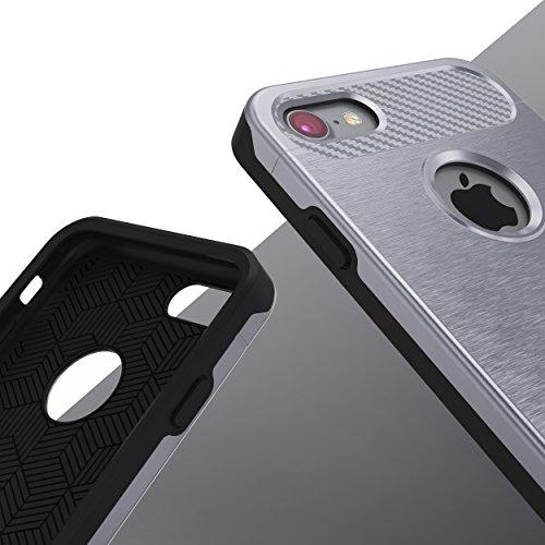 iPhone 7 Coque, Urcover Cross Case Dual Layer [Look Carbone] Housse Étui Téléphone Smartphone Champagne Or pour Apple iPhone 7 Cover Argent