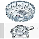 Tortoise House Glass Crystal Tortoise 7x7 Cm In Plate 10x10 Cm Fang Shui Vastu Set - Best Gift For Career And Luck Best Quality