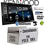 VW Polo 9N3 - Autoradio Radio Kenwood DDX318BT - 2DIN Bluetooth | DVD | USB | CD | MP3 - Einbauzubehör - Einbauset