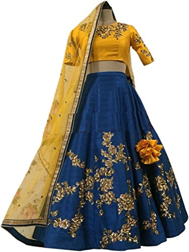 ShreeBalaji Creation Silk Lehenga Choli (YellowBlueLeh_Yellow_Free Size)