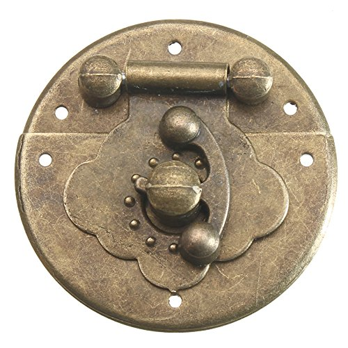 Kungfu Mall Antique Wood Case Truhe Runde Haspe Latch Bronze dekorative Schmuck Box Lock mit Nägeln -