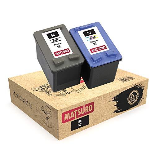 Matsuro Original | Kompatibel Remanufactured Tintenpatronen Ersatz für HP 56 57 (1 Set) (Hp Set 57 Für 56)