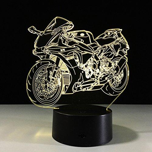 ZNND USB das 3D Illusionseffekt Motorrad Nachtlicht 7 auflädt, ändern Farben Kinderbaby Raum Dekoration, Geburtstags / Feiertags Geschenke für Kinder (Raum Kleinkind Bett)
