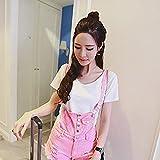rosa buco bordo sottile d'un bavaglino, corrisponde tutto petto estate pantaloncini di jeans,l.,rosa