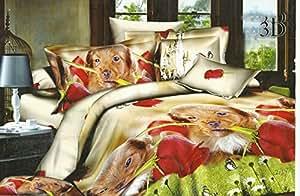 200x220 3D Bettwäsche Bettbezüge Bettwäschegarnituren Microfaser 3tlg schöne Farben und Muster Hund Hündchen Welpe FSH336