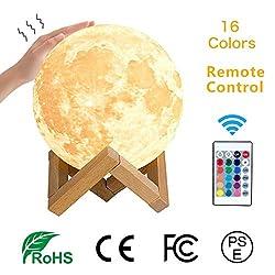 LED Mond Lampe, Moon lamp, RegeMoudal 3D Druck Mondlicht lampe mit Fernbedienung Farbige Dekoleuchte Dimmbar 16 Lichtfarben Geschenk für Kind/Freunde Stimmung Licht Schlafzimmer Wohnzimmer 15cm