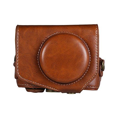 Docooler Funda de cuero para cámara con correa para cámara Canon Powershot G7 X Mark II G7X II Negro, marrón, café (opcional)