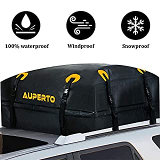 AUPERTO Roof Bag, 15 Cubic ft Rooftop Cargo Bag 100% Waterproof for Cars with Side Rails, Cross Bars or Rack