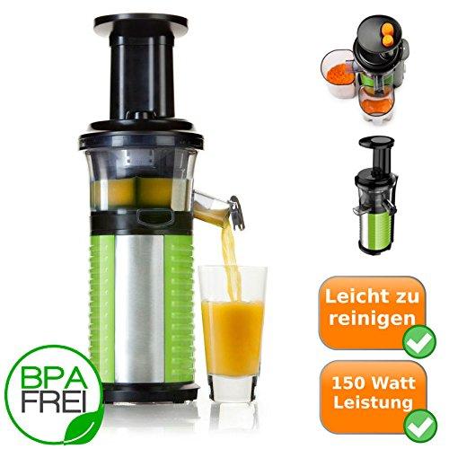 Profi Fruchtpresse + Gemüsepresse BPA-Frei, Slow-Juicer für MEHR Vitamine, MEHR Geschmack, MEHR Saft, spezielles Presssystem - Geschwindigkeit: 60 Umdrehungen pro Minute