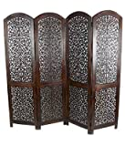 Tayyaba Enterprises 4 Panel Handcrafted Brown Wooden Partition