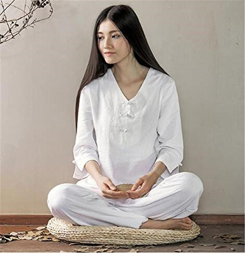 Damen Yoga Praxis Kostüm Anzug / Baumwolle Leinen / bequeme lose Sportbekleidung , white , L