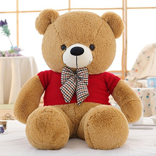 General Verart Light Brown 39 Inches Cute Cuddly Huge Stuffed Animals Plush Gaint I Love You Teddy Bear Toy Doll for Valentine's Day