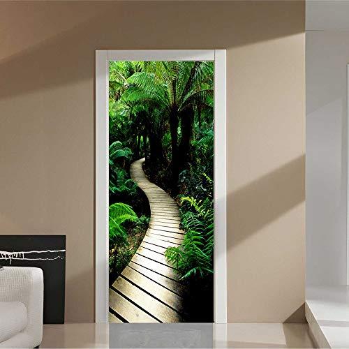 XIAOXINYUAN 3D Tür Aufkleber Grüner Weg Wallpaper Abnehmbare Selbstklebende Wandbilder Für Schlafzimmer Tür Büro Wand Aufkleber Home Decor - Weg Wallpaper