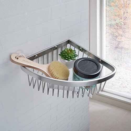 Kes solido sus 304 inox acciaio bagno angolo triangolare vasca e mensole per doccia cestino montaggio a parete spazzolato finire, bsc202s22-2