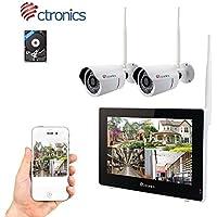 """(Touchscreen) Ctronics überwachungskamera Set, 2.4G NVR wifi videoueberwachung set mit 9"""" Touchscreen-Monitor und 2 * 720p WiFi-IP Netzwerkkamera für die Überwachung des Eigenheims."""