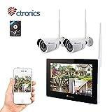 (Écran tactile) Kit caméra de surveillance, 2.4G NVR Kit avec écran tactile 9 '' et WiFi IP caméra 2 * 720p, installation intérieure et extérieure (disque dur de 500G inclus)