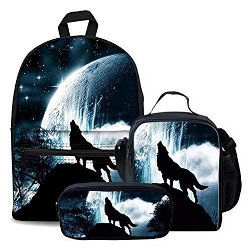 chaqlin Kinder Schulrucksack aus Segeltuch mit Schmetterlingsdruck, 3-teiliges Set Mehrfarbig Animal Wolf-Moon(3pcs/Set) Einheitsgröße -