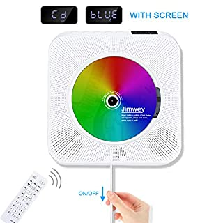 Portable CD Player, Jimwey Wall Mountable Bluetooth Built-in HiFi Speakers, Home Audio FM Radio USB MP3 Music Player, 3.5mm Headphone Jack AUX Input/output With Pulling-Switch/ Remote Control White