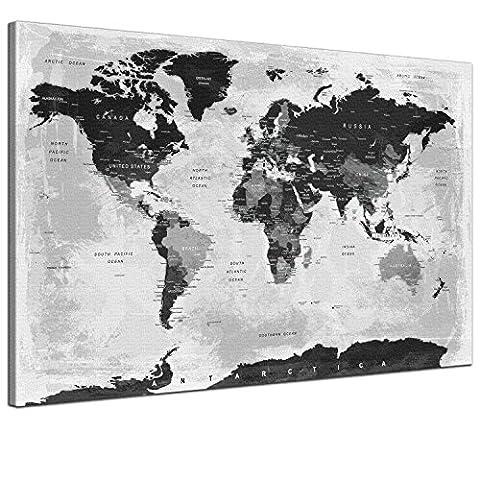 SPIRAL DIGITAL - Weltkarte Kork Pinnwand Moderne Kunst Politisch Grau Monochrom - Hochwertige Pinnwand Leinwandbild Kunstdruck Poster auf Keilrahmen - 1-teilig, 120 x 80 cm