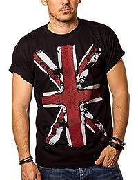 T-Shirt Drapeau Anglais Homme UNION JACK Vintage Noir S-XXXL