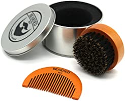 BEARDED BEN baardborstel met wildzwijnharen in hoogwaardige opbergdoos/geschenkdoos, incl. baardkam, teakbruin,...