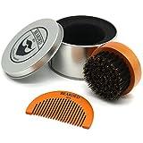 BEARDED BEN brosse à barbe avec des poils de sanglier et une boite de rangement de haute qualité pour un soin de la barbe professionnel ( brune, diamètre : 6.3 cm) | 2 ans de garantie de satisfaction