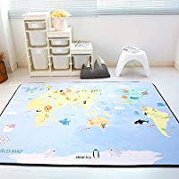 GE&YOBBY Anti Slip Large Kids Play Rug,thicken World Map Planet Play Mat Fun Soft Play Rug For Learning Playroom Nursery Children