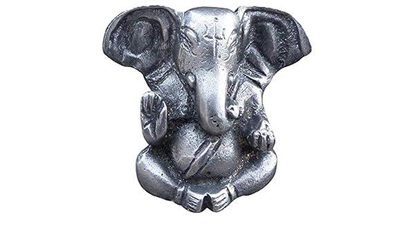 Vertreiber von Hindernissen und Gott der Weisheit im Hinduismus Elefant Statue Buddha Figur. Zinngeschenke Ganesha sitzend, 5,0 x 5,5 cm HxB