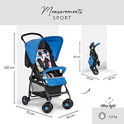Hauck Sport Lightweight Pushchair up to 18 kg with Lying Position from Birth, Easy and Compact Folding, Bumper Bar, Large Shopping Basket - Mickey Geo Blue
