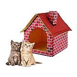 Oddity Abnehmbar Waschbar Red Brick Pet House Hundebett Einzelzimmer Schornstein Haus Zwinger Cattery Tent Nest