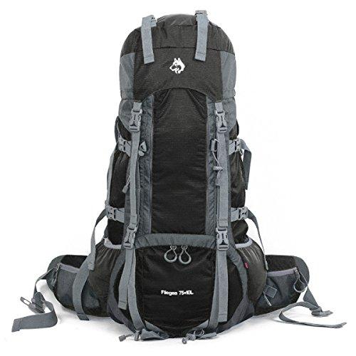 Bergsteigen Tasche Nylon Hoch Einstellung 75 + 10 L Schultern Schwerer Rucksack Black